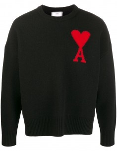 Pull Col Rond Coeur Oversize Noir