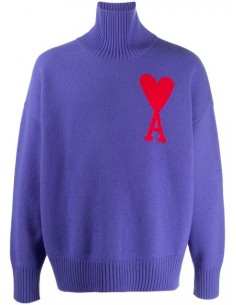 Pull Violet Col Roule Logo Coeur Rouge Oversize