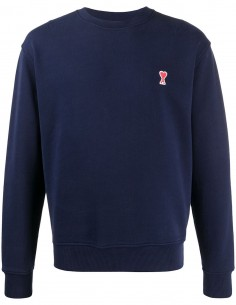 Sweatshirt Bleu Col Rond Logo Coeur AMI