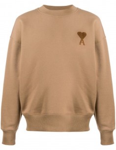 BEIGE ROUND COLLAR SWEATSHIRT WITH TONE-ON-TONE RED HEART