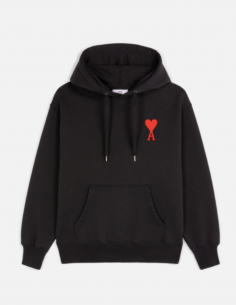 BLACK HOODIE WITH BIG HEART