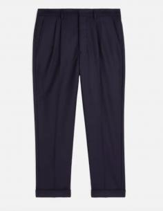 Pantalon Carotte à Plis Bleu AMI