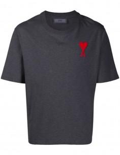 T-shirt Gris Grand Coeur AMI Brodé