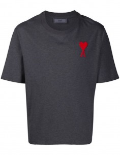 GREY TEE WITH BIG RED HEART LOGO EMBROIDERED
