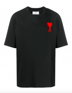 BLACK TEE WITH BIG RED HEART LOGO EMBROIDERED