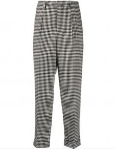 Pantalon Carotte Vichy Noir