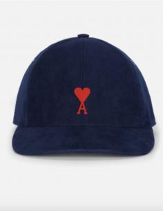 Casquette Moleskine Bleu Logo Coeur Rouge