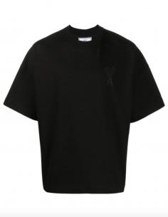 T- shirt Grand Coeur AMI Ton sur Ton Noir