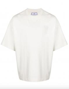 T-shirt Grand Coeur AMI Ton sur Ton Blanc