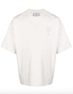WHITE TEE-SHIRT WITH TONE-ON-TONE BIG HEART LOGO