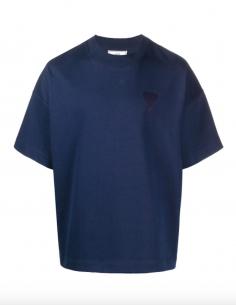T-shirt Grand Coeur AMI Ton sur Ton Bleu