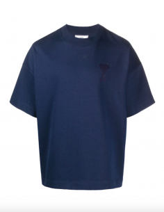 BLUE TEE-SHIRT WITH TONE-ON-TONE BIG HEART LOGO