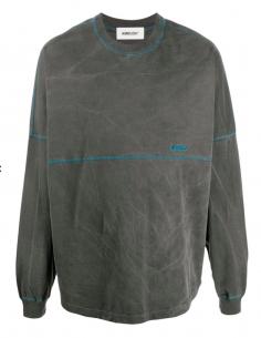 Tee shirt Manches Longues Gris Délavé Surpiqures Bleues
