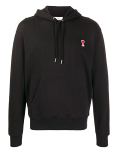 Black Hoodie With Little Red Heart Embroidered