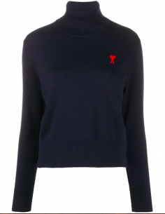 Blue Slim Turtleneck Pullover With Red Logo Embroidered