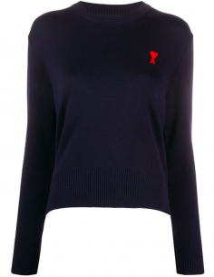 Blue Rond Neck Pullover Red Logo Embroidered