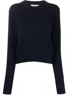 Blue Round Collar Pullover Cashmere