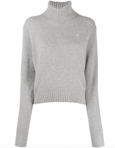 Grey Turtleneck Pullover Little Heart Embroidered