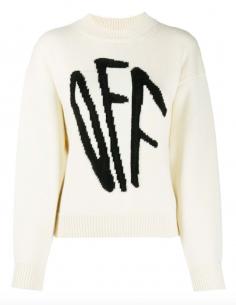 Ecru Round Neck Pullover Graffiti Embroidered