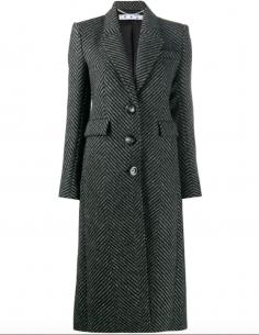 Maxi Coat Black Chevron Pattern