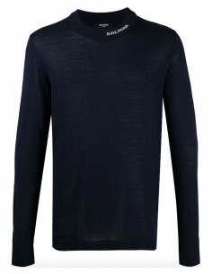 "Round-neck pullover in navy with ""Balmain"" logo"