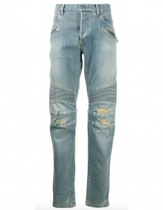 "balmain men ""Biker"" blue jeans with destroyed details"