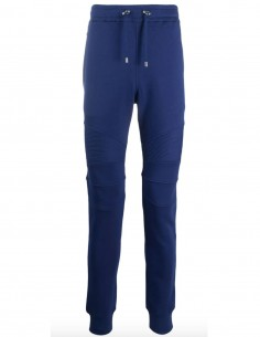 "Biker jogging pants in navy with ""Balmain"" logo for men"