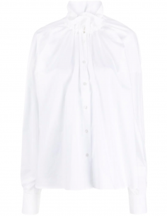 White Smocked Collar Blouse