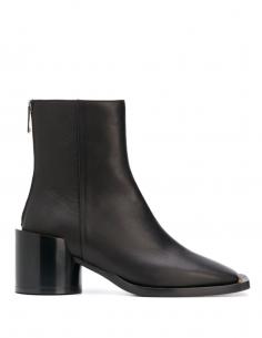 Black Round Maxi Heel Carre Toe Boots