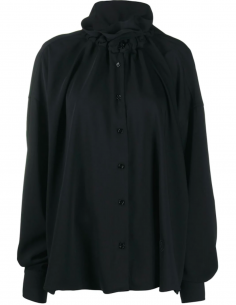 Black Smocked Collar Blouse