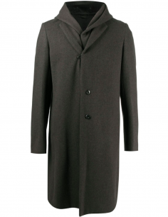 Coat Double Collar Hooded Wool And Cashmere Grey
