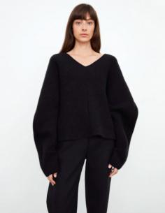 V-neck Sweater Ragging Sleeves Black