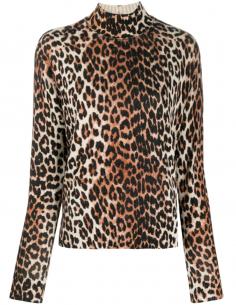 Pull Col Cheminée Imprime Leopard