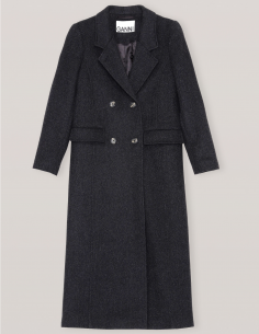 Double-breasted long coat in wool in dark grey