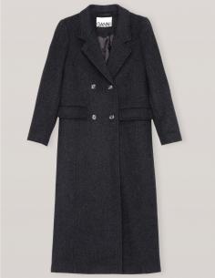 Long manteau croisé en laine gris ganni fw20