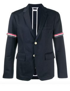 Veste de blazer bleu marine avec brassard drapeau iconique thom browne fw20