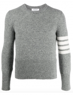 Pull en laine shetland gris clair avec détails 4 bandes thom browne homme fw20