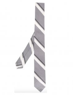 Striped tie in light grey them browne men fw20