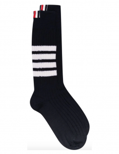 thom browne men fw20 Navy socks with 3 white bands