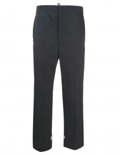 Pantalon chino bleu marine avec bas revers thom browne homme fw20