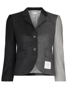 Veste de blazer courte en patchwork them browne femme fw20