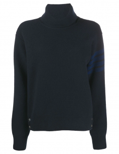 thom browne Turtleneck navy pullover made in cashmere women fw20