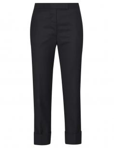 Pantalon bleu marine en laine avec bas revers thom browne femme fw20