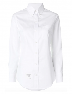 thom browne women fw20 Long white shirt made in poplin cotton