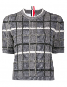 Pull en laine jacquard à manches courtes thom browne femme fw20