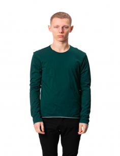 Double Tee Shirt Vert Manches Longues