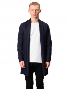 Blue Wool Cardigan Collar Chale