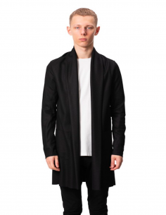 Black Wool Cardigan Collar Chale