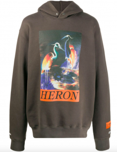 Grey Printed Hoodie Heron