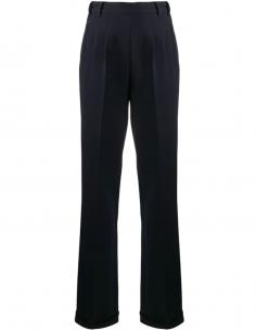 Pantalon bleu large à plis